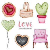 set van grote geïsoleerde aquarel Valentijn concept element mooie romantische rood-roze harten voor decoratie, vectorillustratie. vector