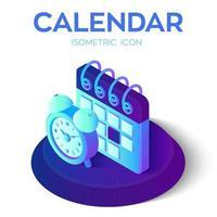 kalender met wekkerpictogram. 3d isometrische kalender met wekkerteken. gemaakt voor mobiel, web, decor, printproducten, applicatie. perfect voor webdesign, banner en presentatie. vector