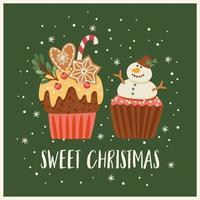 kerstmis en gelukkig nieuwjaar illustratie met kerstsnoepjes. vectorontwerpsjabloon. vector