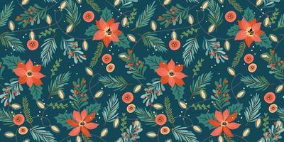 kerstmis en gelukkig nieuwjaar naadloos patroon. slingers, kerstboom, gloeilampen, bloemen, bessen. nieuwe jaar symbolen. vector