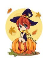 een halloween-heks zit tegen een volle maan. de herfstvakantie. vector, vlakke stijl, tekenfilm. vector