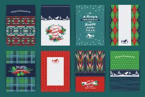 Kerstmis en Nieuwjaar Set. Geruite gebreide achtergronden. vector