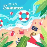 zeezicht met zwemring, zand, zee, blad, zeester, krab, strandbal, camera en pantoffel. vector