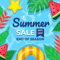 zomertijd banner. luchtfoto van kabbelend water vector