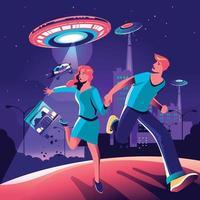 paar weggelopen van ufo-invasie in de stad vector