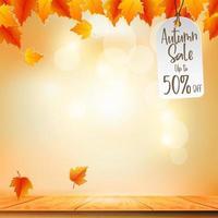 herfst verkoop promo banner met herfstgebladerte op de achtergrond bokeh. seizoensgebonden winkelkortingsaanbieding met rode en oranje bladeren van esdoorn. 3d vectorillustratie vector