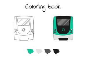 kleurboek voor kinderen. vectorillustratie. metro trein, m vector