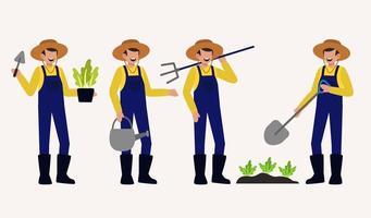 set van boer of landbouwer in cartoon karakter vectorillustratiector vector