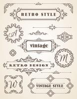 Set van retro vintage badges, kaders, etiketten en randen.