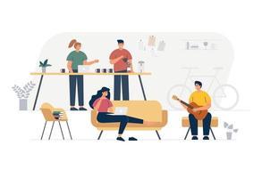 bedrijfsleden van het bedrijf. muziekband platte hand getekende illustratie. vector