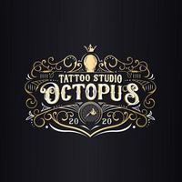 octopus tattoo studio logo vector