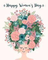 Internationale Vrouwendag. Vectormalplaatje met leuke vrouw