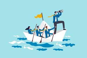 leiderschap om zaken te leiden in crisis, teamwerk of ondersteuning om doel, visie of voorwaartse strategie voor succesconcept te bereiken, zakenmanleider met verrekijker leiden zakelijk team zeilend origamischip vector