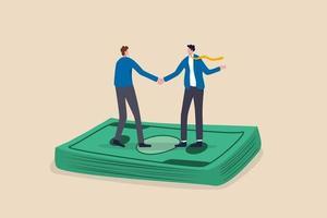 salarisonderhandeling, loonsverhogingsdiscussie of loon- en uitkeringsovereenkomst, zakelijke deal of fusie- en overnameconcept, zakenmensenhanddruk op stapel geldbankbiljet na afrondingsovereenkomst. vector