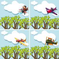 Scènes met piloten die vliegtuig vliegen vector