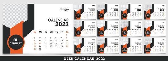 kalender 2022, set bureaukalender sjabloonontwerp met plaats voor foto en bedrijfslogo. de week maandag op zondag. set van 12 maanden vector