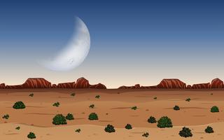 Een woestijn in de nacht