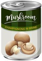Een blik champignons Mushroom vector