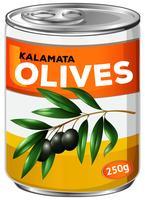 Kan van kalamata-olijven vector