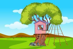 Een speelhuis in een boomhut