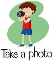 Wordcard voor neem een foto met jongen die foto met camera neemt vector