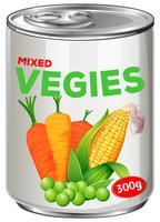 Kan van gemengde groenten vector