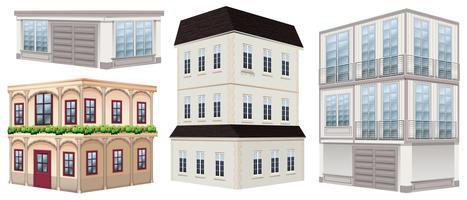 Verschillende ontwerpen van gebouwen vector