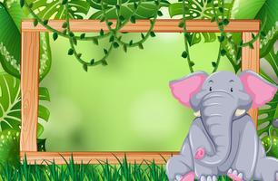 Olifant in jungle frame vector