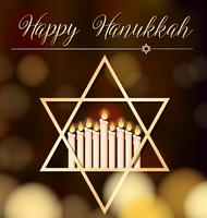 Happy Hanukkah kaartsjabloon met licht en ster symbool