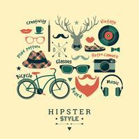 Platte ontwerp vectorillustratie van hipster stijl. vector