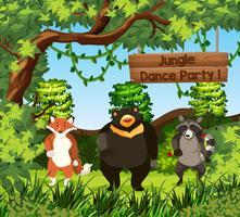 Wilde dieren dansen in de jungle