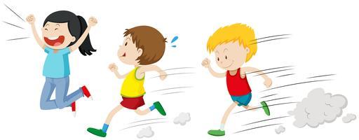 Twee jongens lopen in een race vector