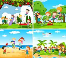 Set van scène van spelende kinderen