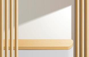 lege minimale houten tafel, houten podium op witte achtergrond. voor productpresentatie, mock-up, weergave van cosmetische producten, podium, podiumvoetstuk of platform. 3D-vector vector