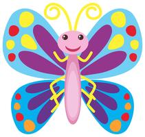 Kleurrijke vlinder met gelukkige glimlach
