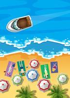 Oceaanscène met boot en mensen het zonnebaden