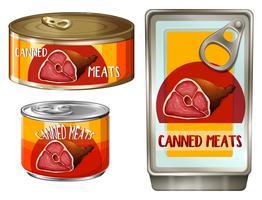 Vlees in drie verschillende blikken vector