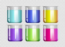 Zes bekers gevuld met kleurrijke vloeistof