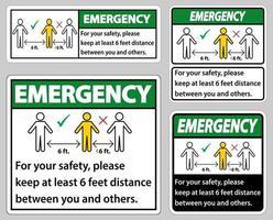noodgeval houd 6 voet afstand, voor uw veiligheid, houd ten minste 6 voet afstand tussen u en anderen. vector