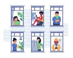 bundel van vele carrièrekarakters 1 sets, 6 poses van verschillende beroepen, levensstijlen, vector