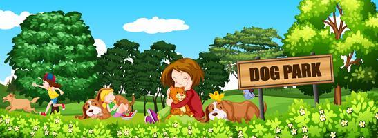 Mensen en honden in het hondenpark vector