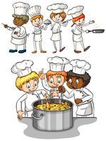 Set van chef-kok koken