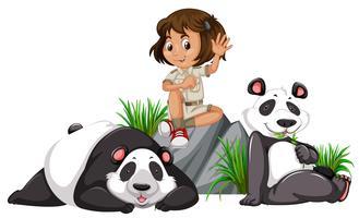 Een panda bewaarder op witte achtergrond
