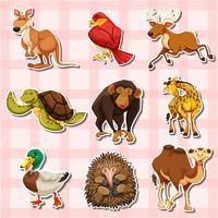 Stickerontwerp met verschillende soorten dieren vector