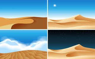 Vier achtergrondtaferelen van woestijnen op verschillende tijden vector