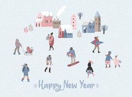 Kerstmis en gelukkig Nieuwjaar illustratie whit mensen. vector