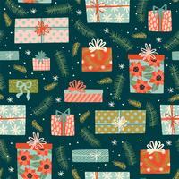 Kerstmis en gelukkig Nieuwjaar naadloze patroon met geschenkdozen.