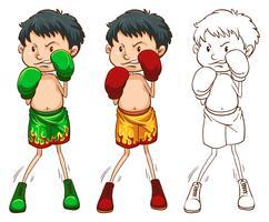 Doodle karakter voor bokser