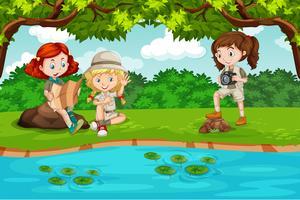 Kamperen kinderen in de natuur vector