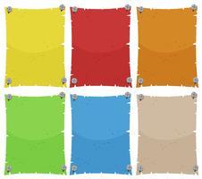 Papiersjabloon in zes kleuren
